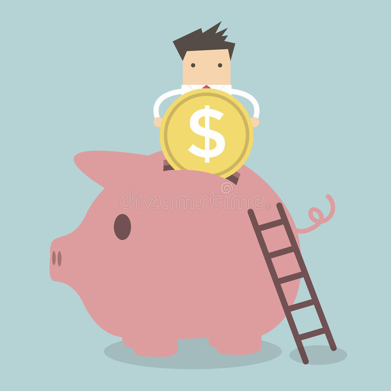 Homem de negócios que põr a moeda no banco Piggy ilustração royalty free