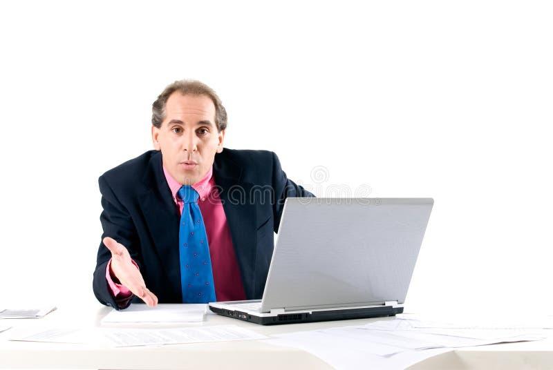 Homem de negócios que pede explanações foto de stock royalty free