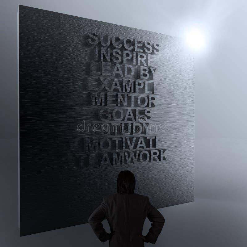 Homem de negócios que pensa do diagrama do negócio do sucesso na parede do metal imagem de stock royalty free