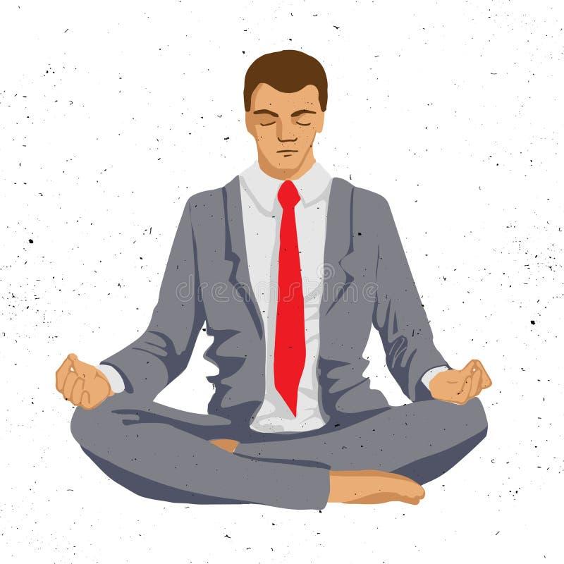 Homem de negócios que pensa durante a meditação, ilustração do vetor dos desenhos animados, meditar do homem de negócio ilustração stock