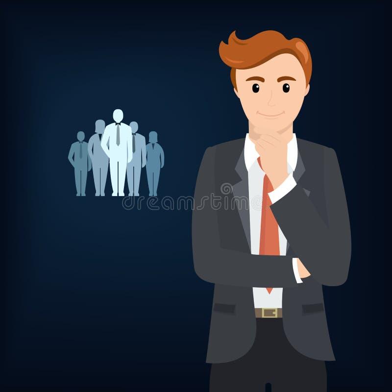 Homem de negócios que pensa sobre trabalhos de equipa ilustração do vetor