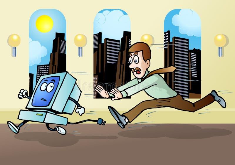 Homem de negócios que persegue o computador ilustração stock