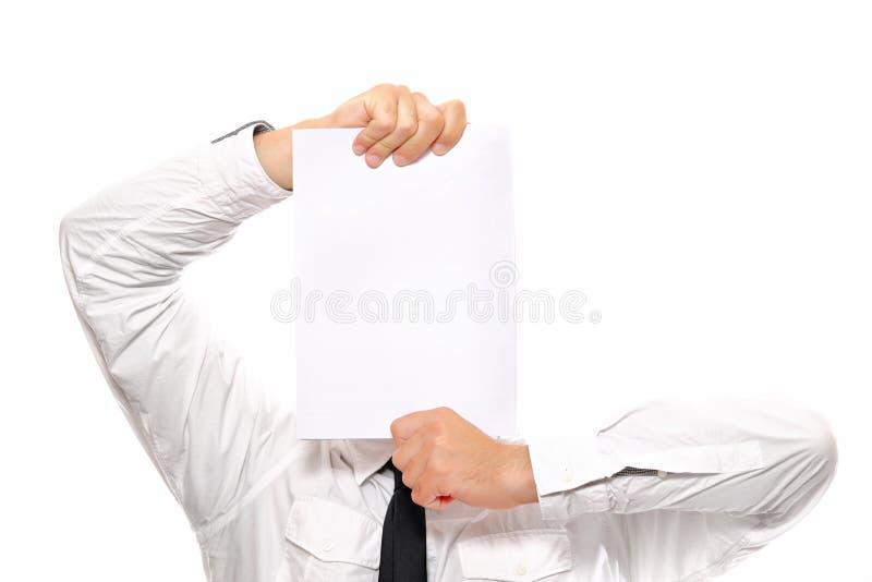 Homem de negócios que prende o Livro Branco fotos de stock