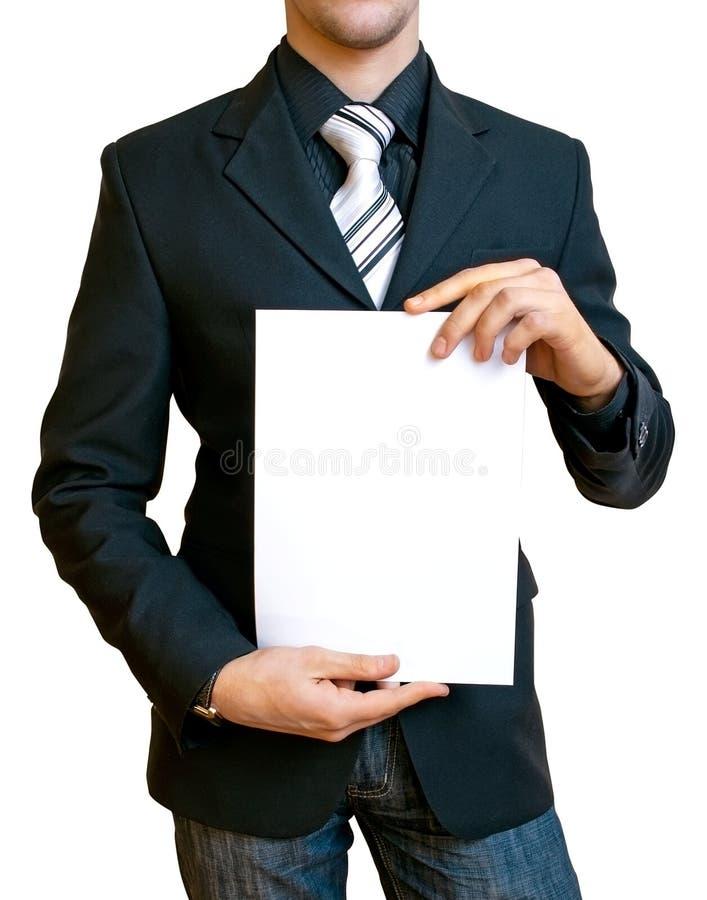 Homem de negócios que prende o papel fotos de stock royalty free