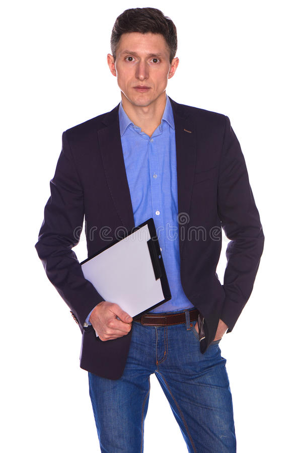 Homem de negócios que prende uma placa branca em branco imagem de stock
