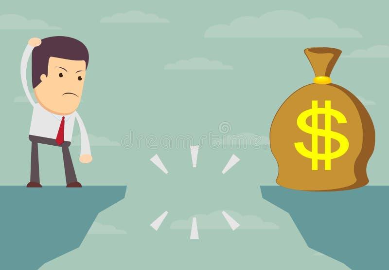 Homem de negócios que procura o saco do dinheiro ilustração stock