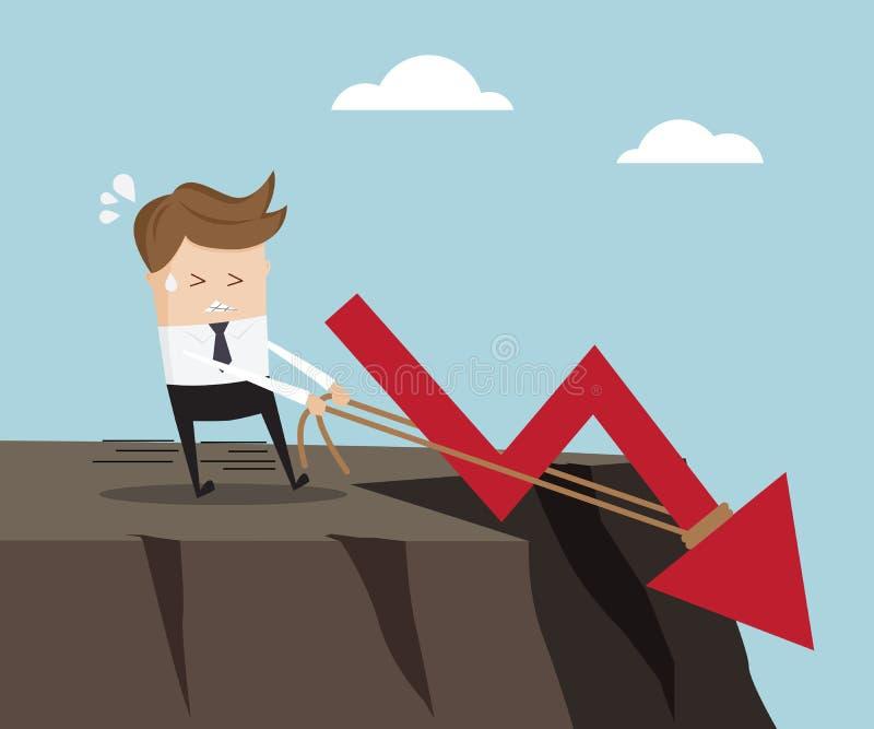 Homem de negócios que puxa abaixo do gráfico no penhasco alto ilustração stock