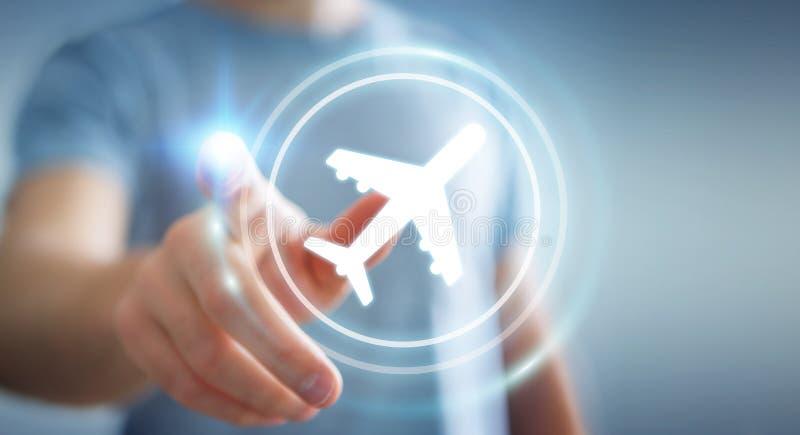 Homem de negócios que registra o seu voo com aplicação digital moderna 3 ilustração royalty free