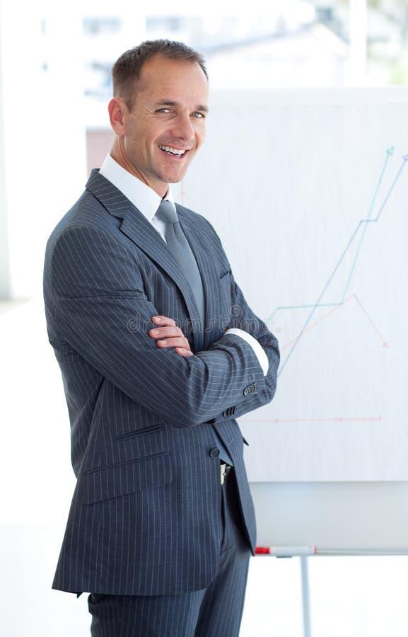 Homem de negócios que relata às figuras de vendas foto de stock royalty free