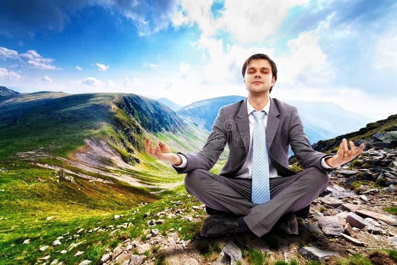 Homem de negócios que relaxa na natureza fotos de stock royalty free