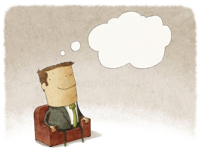 Homem de negócios que senta-se em um sonho da poltrona ilustração do vetor