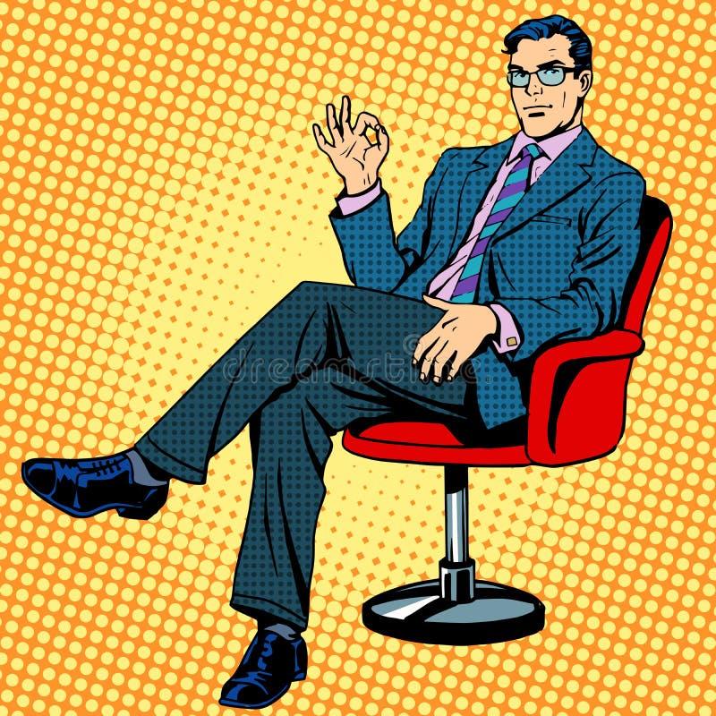 Homem de negócios que senta-se em uma aprovação do gesto da poltrona ilustração royalty free