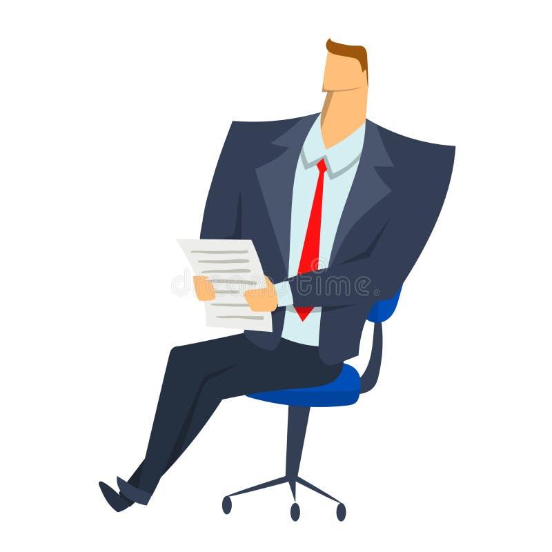 Homem de negócios que senta-se em uma cadeira com originais de papel em suas mãos Ilustração do vetor do caráter isolada no branc ilustração stock