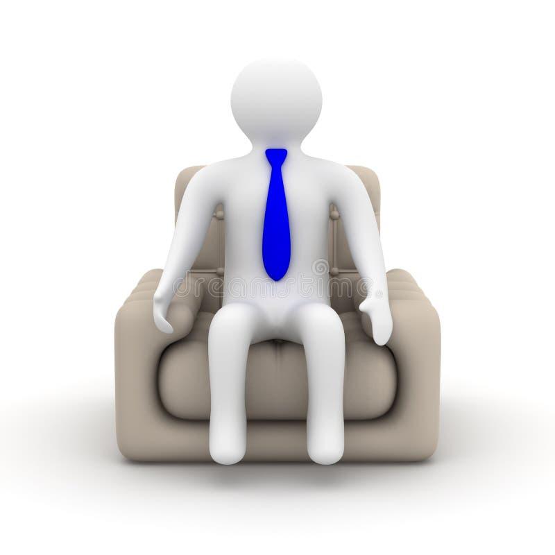 Homem de negócios que senta-se em uma poltrona. ilustração royalty free
