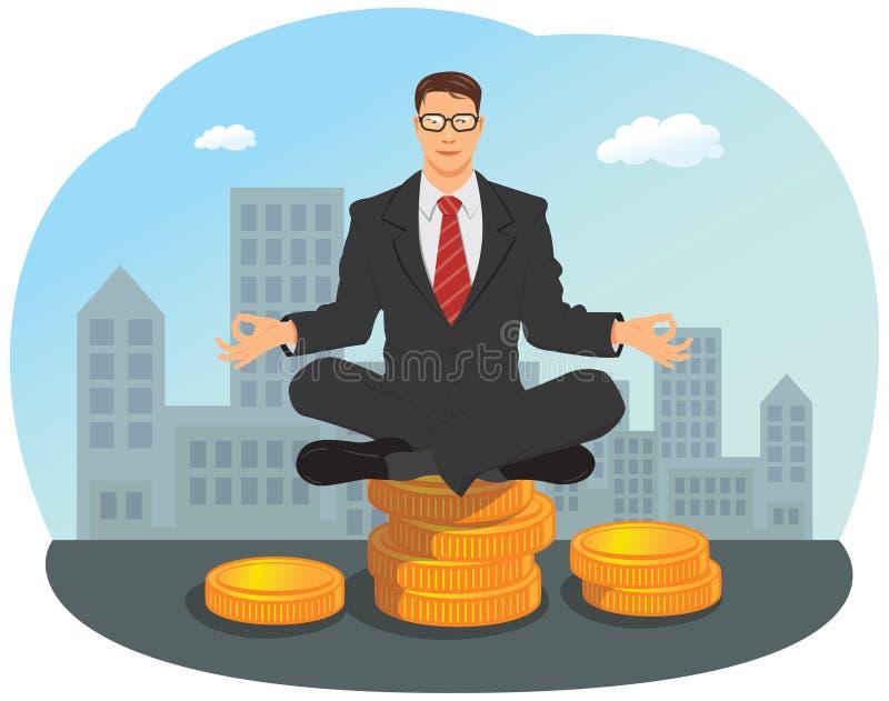 Homem de negócios que senta-se na pilha de moeda de ouro ilustração do vetor