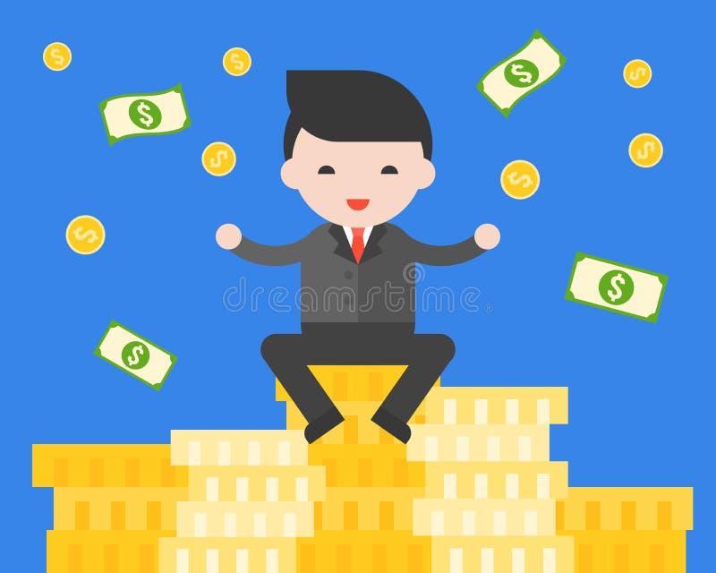 Homem de negócios que senta-se na pilha de moedas de ouro, otorrinolaringológico novo bem sucedido ilustração stock