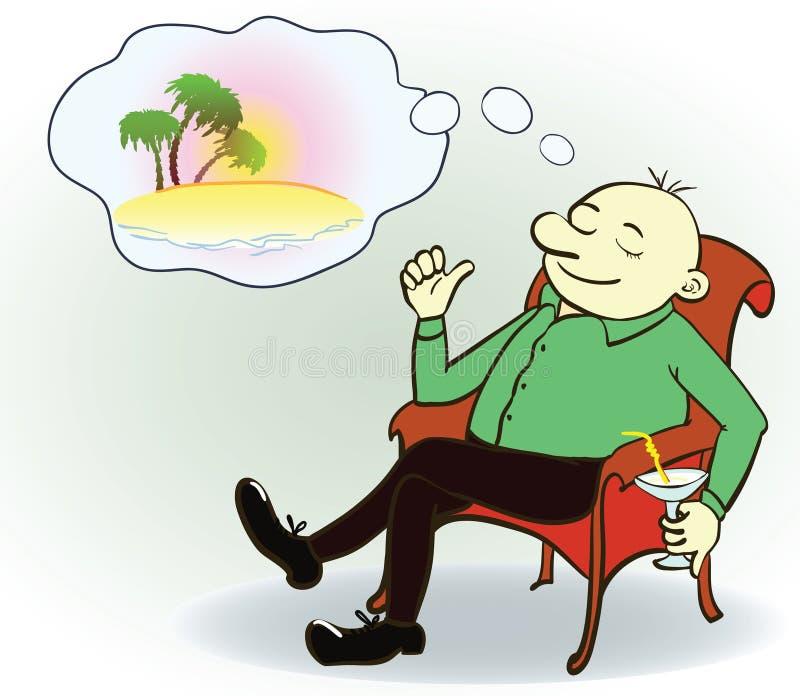 Homem de negócios que sonha sobre férias, vetor ilustração stock