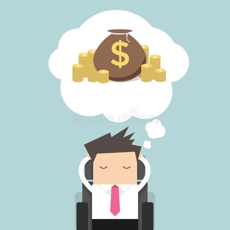 Homem de negócios que sonha sobre o dinheiro ilustração do vetor