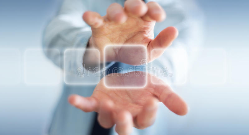 Homem de negócios que surfa no Internet com relação tátil digital 3 ilustração stock