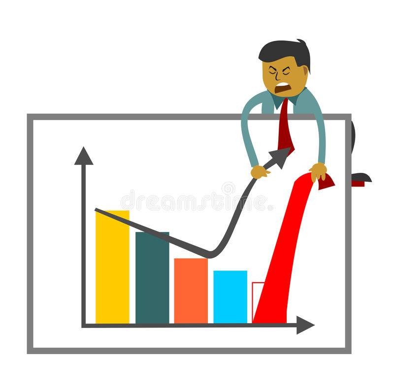 Homem de negócios que tenta aumentar figuras de vendas ilustração royalty free