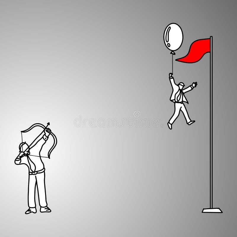 Homem de negócios que tenta disparar no balão para fazer ilustração stock
