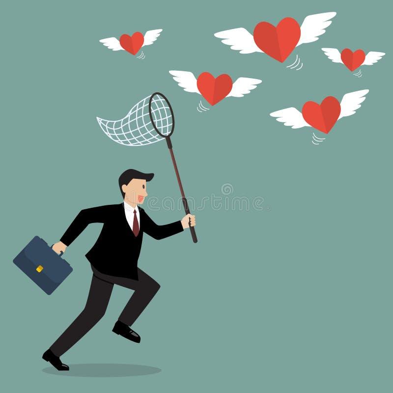 Homem de negócios que tenta travar o voo dos corações ilustração royalty free