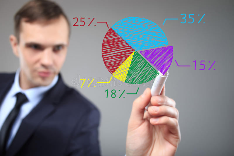 Homem de negócios que tira um gráfico colorido da carta de torta Conceito do negócio, da tecnologia, do Internet e dos trabalhos  imagens de stock