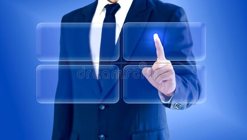 Homem de negócios que toca na matriz virtual da carta dos botões Copie o espaço para sua texto ou imagem fotos de stock royalty free
