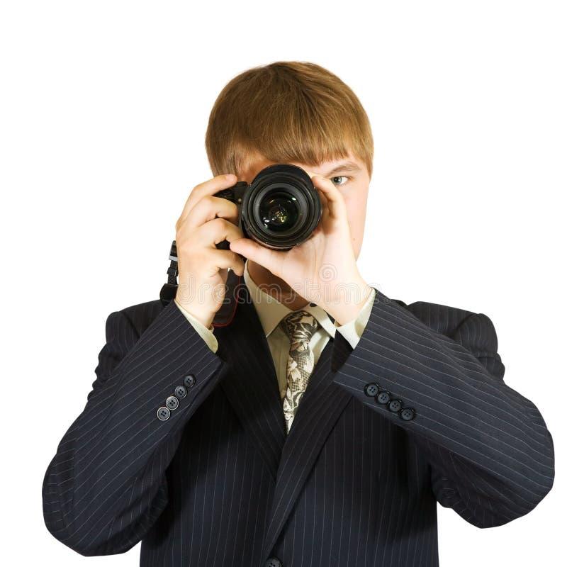 Homem de negócios que toma a foto fotografia de stock