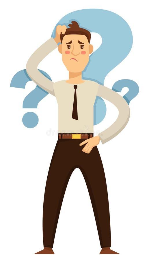 Homem de negócios que toma pontos de interrogação da hesitação e da dúvida da decisão ilustração royalty free
