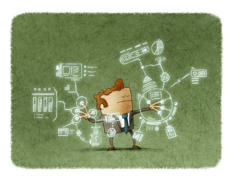 Homem de negócios que trabalha com tecnologias futuras ilustração stock