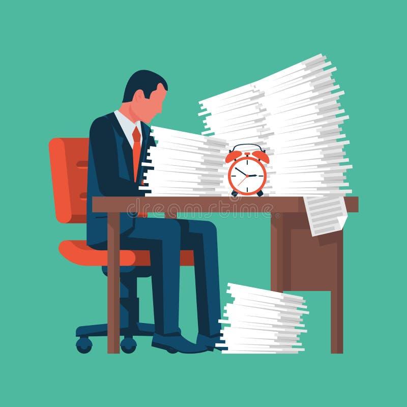 Homem de negócios que trabalha com uma pilha dos papéis ilustração do vetor