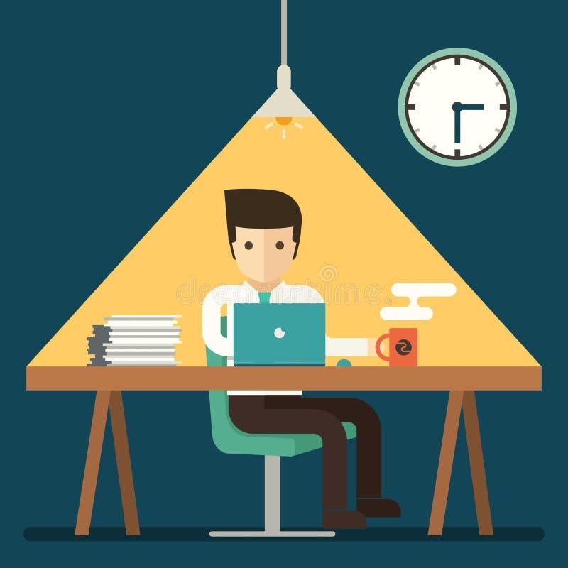 Homem de negócios que trabalha fora do tempo estipulado tardio no escritório ilustração stock