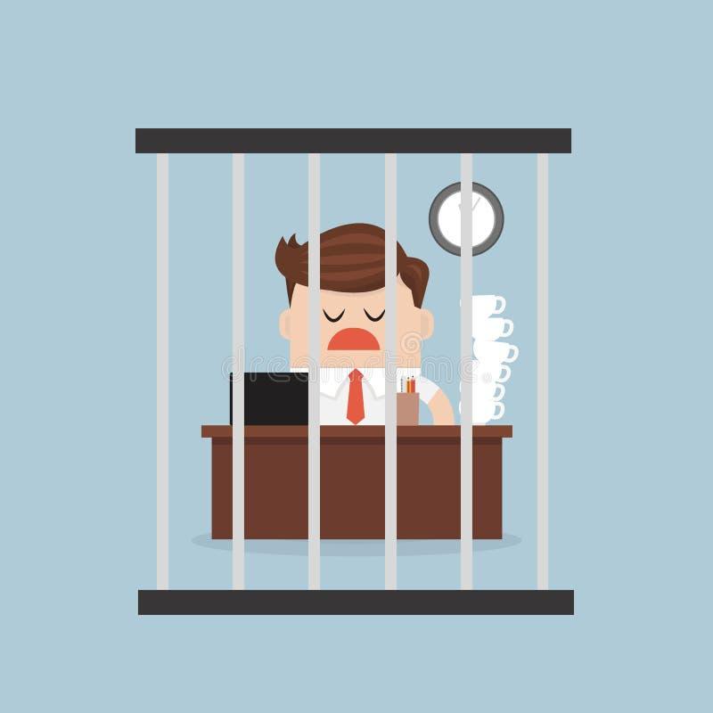 Homem de negócios que trabalha no birdcage, estilo liso do projeto do illustion do vetor ilustração stock