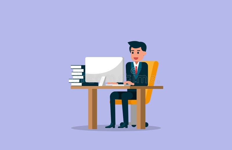 Homem de negócios que trabalha no computador Ilustração do vetor do trabalho ilustração do vetor
