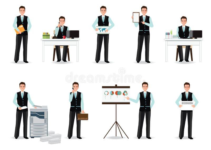 Homem de negócios que trabalha no terno esperto isolado no branco ilustração stock