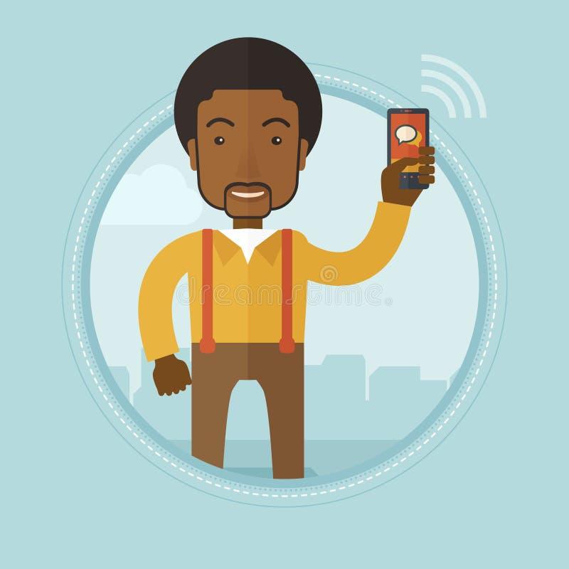 Homem de negócios que usa a ilustração do vetor do telefone celular ilustração stock