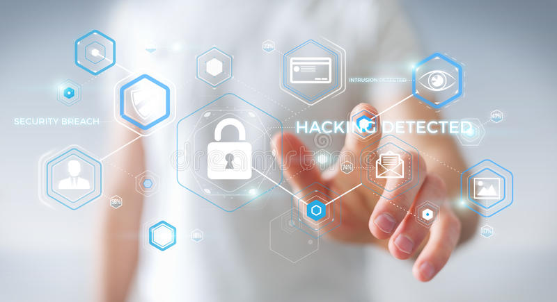 Homem de negócios que usa o antivirus para obstruir uma rendição do ataque 3D do cyber ilustração royalty free