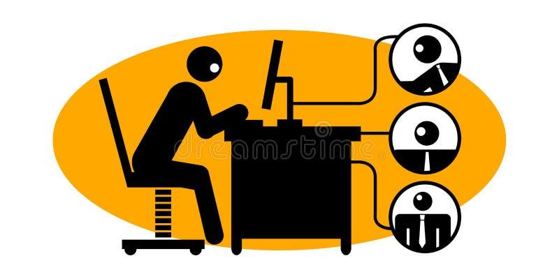 Homem de negócios que usa o computador ilustração royalty free