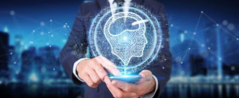 Homem de negócios que usa o holograma digital do ícone da inteligência artificial