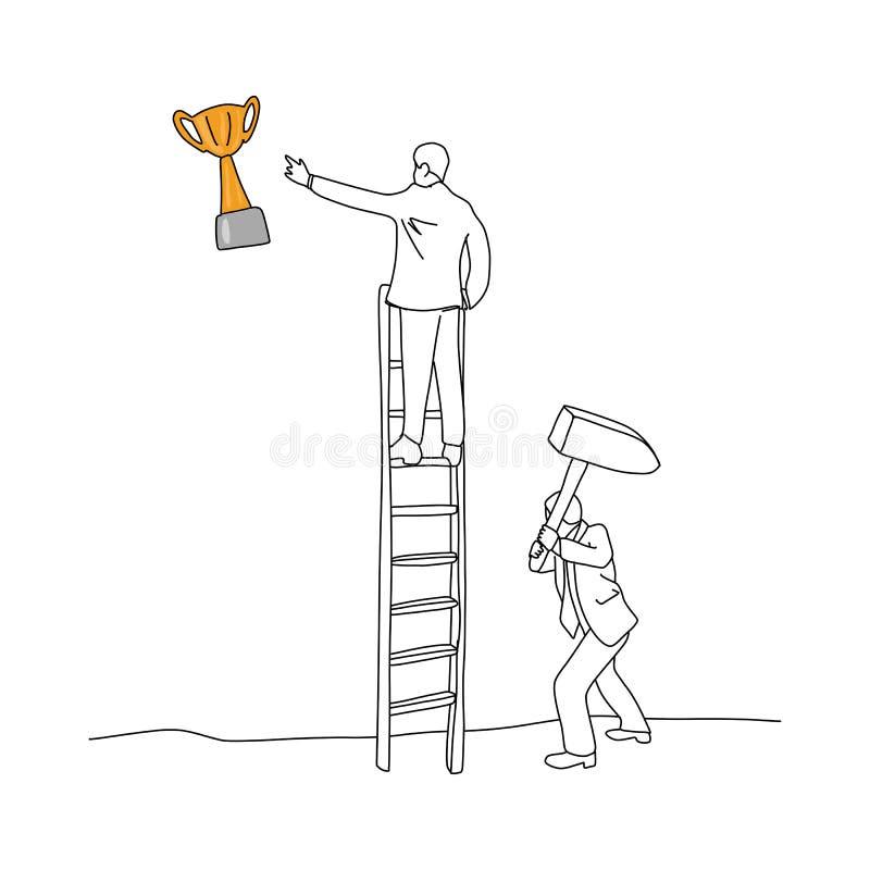 Homem de negócios que usa o martelo para bater a escada de seu vetor do amigo ilustração do vetor