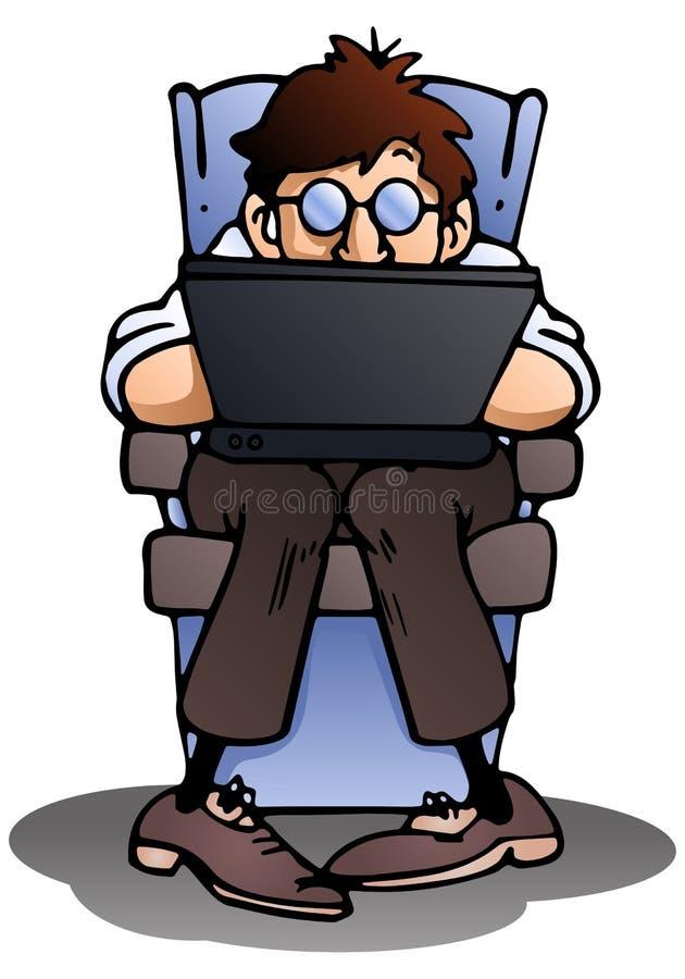 Homem de negócios que usa o portátil ilustração stock