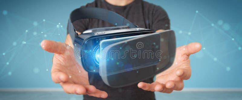 Homem de negócios que usa o renderin da tecnologia 3D dos vidros da realidade virtual ilustração do vetor