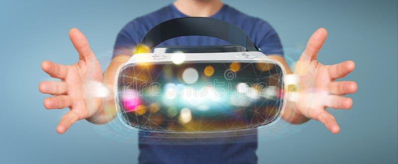 Homem de negócios que usa o renderin da tecnologia 3D dos vidros da realidade virtual ilustração stock