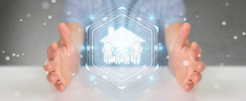 Homem de negócios que usa a rendição da aplicação 3D do seguro do cuidado da família ilustração do vetor