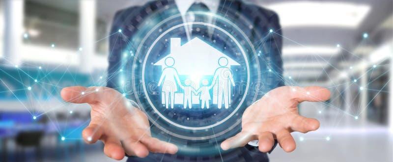 Homem de negócios que usa a rendição da aplicação 3D do seguro do cuidado da família ilustração royalty free
