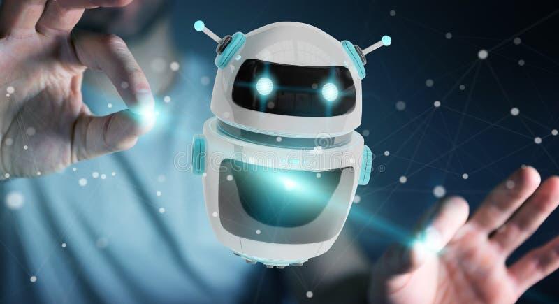 Homem de negócios que usa a rendição digital da aplicação 3D do robô do chatbot ilustração royalty free