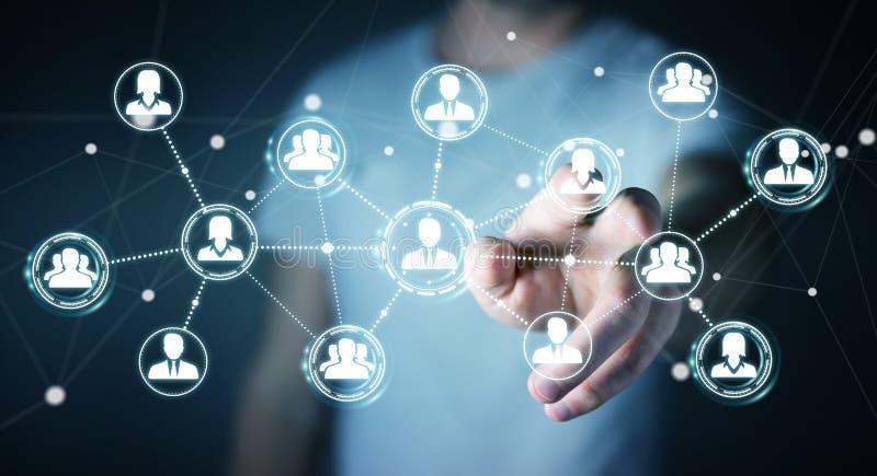 Homem de negócios que usa a rendição social da conexão de rede 3D ilustração royalty free
