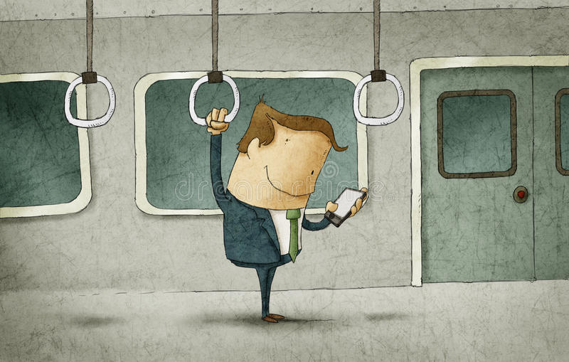 Homem de negócios que viaja no metro ilustração royalty free