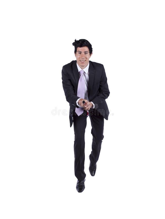 Homem de negócios que voa uma vassoura imagens de stock